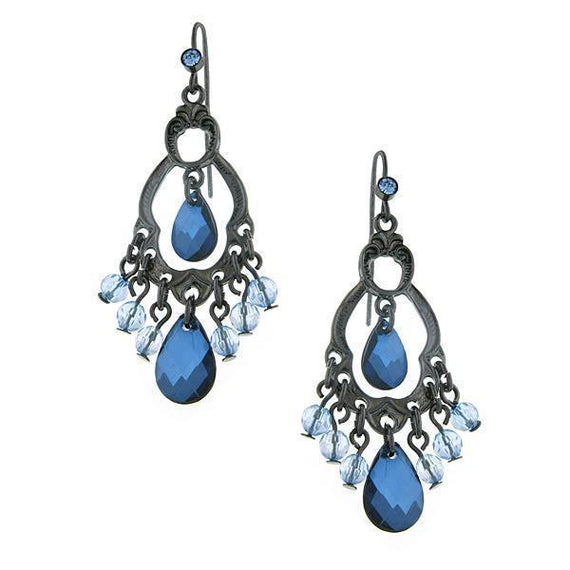 Black-Tone Blue Briolette Chandelier Earrings
