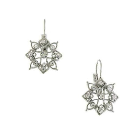 Silver-Tone Crystal 8-Point Drop Earrings