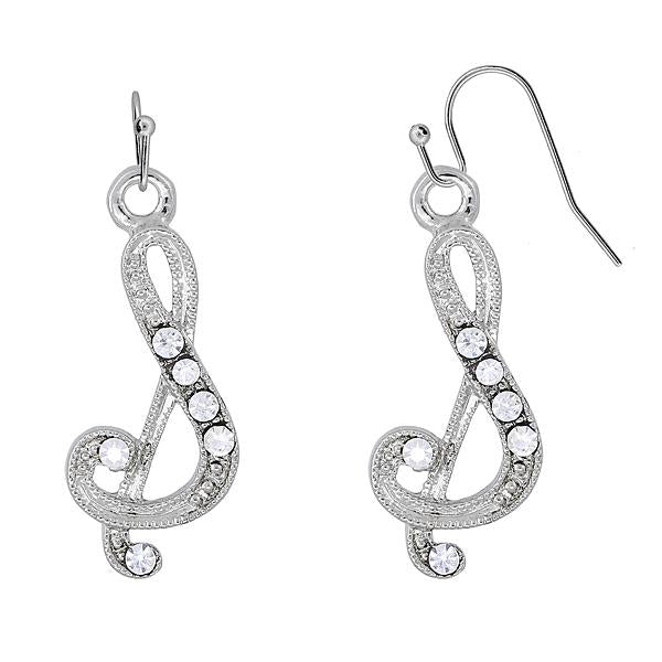 Silver Tone Crystal Initial J Wire Earrings