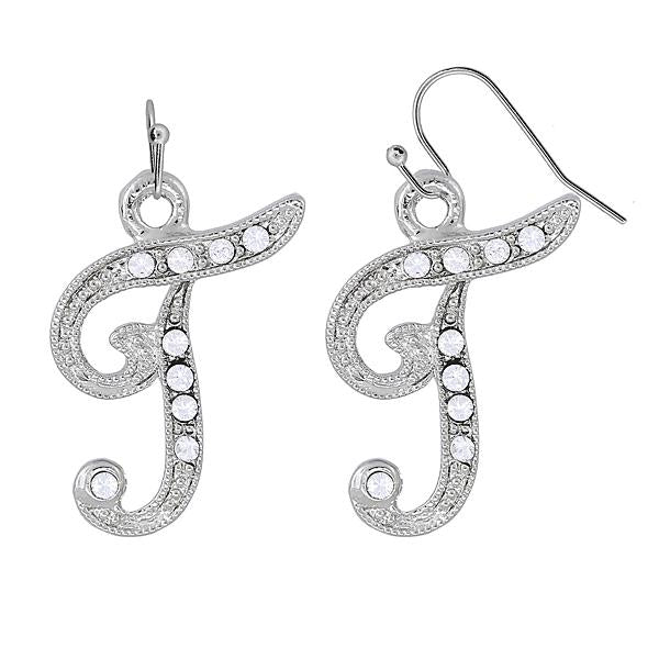 Silver Tone Crystal Initial T Wire Earrings