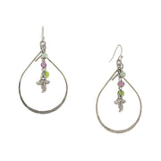 Silver Tone Multi Color Bead And Leaf Open Teardrop Earrings