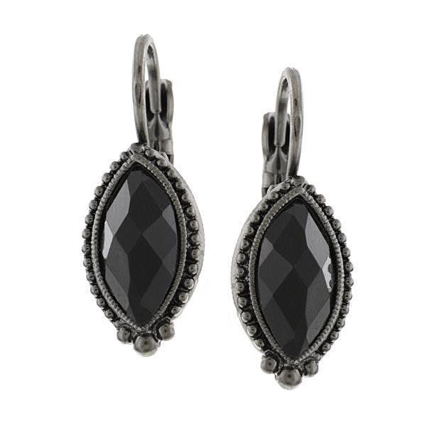 Black-Tone Navette Earrings