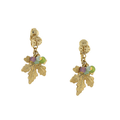 14K Gold Dipped Multi Color Beaded Grape Leaf Clip On Earrings