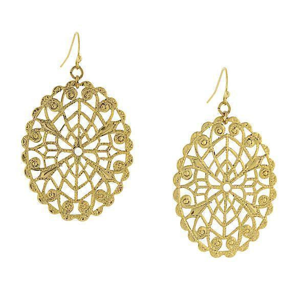 Gold-Tone Oval Filigree Drop Earrings