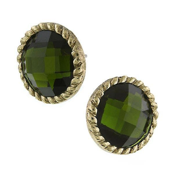 Gold Tone Olivine Button Earrings