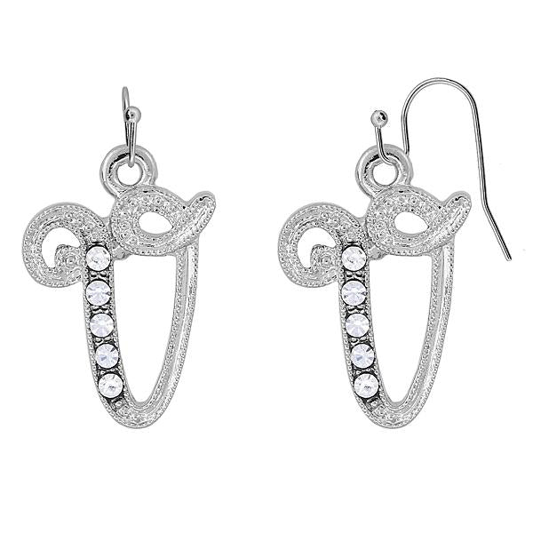 Silver Tone Crystal Initial V Wire Earrings