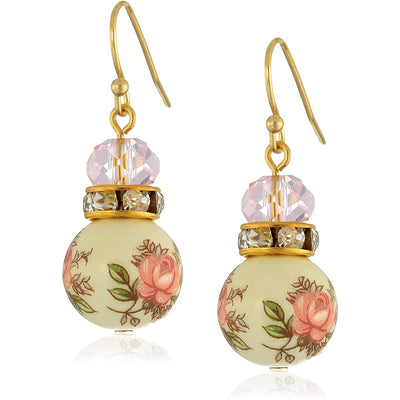 Gold Tone Light Rose Pink And Floral Beaded Drop Earrings