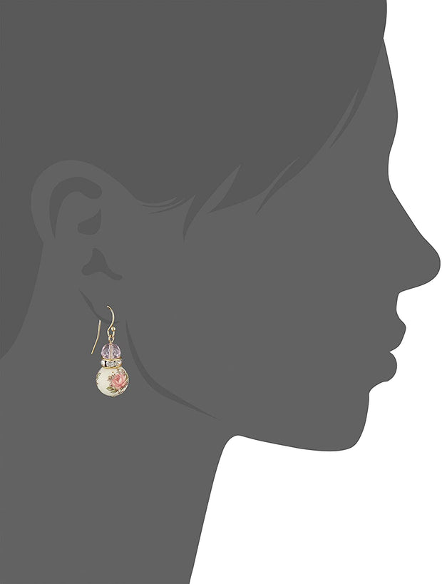 Gold Tone Rose Pink Floral Beaded Drop Earrings