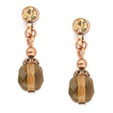 Burn.Copper/Lt.Colorado/Smoke Topaz Beaded Drop Earrings