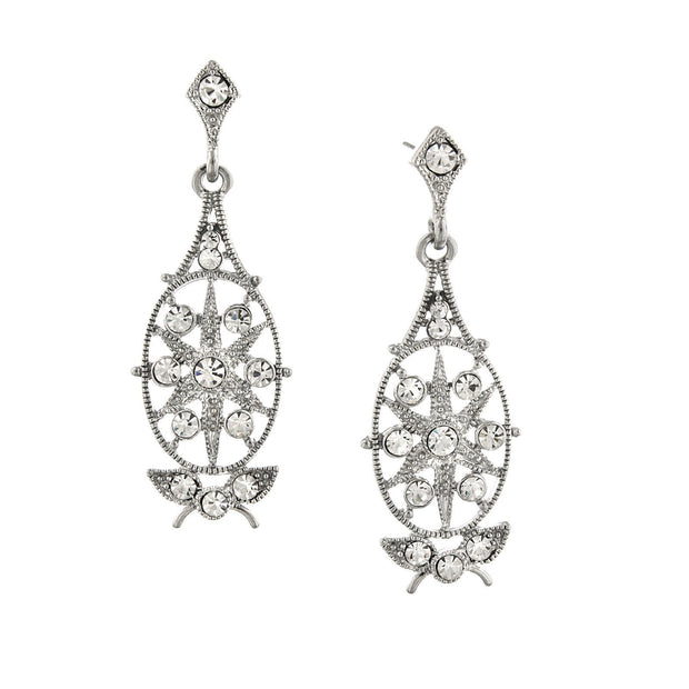 Silver-Tone Crystal Filigree Drop Earrings