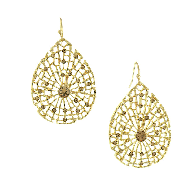 Gold Tone Lt. Colorado Filigree Teardrop Earrings