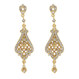 Fashion Jewelry - 14k Gold-Dipped Filigree Earrings Made with Swarovski Crystals