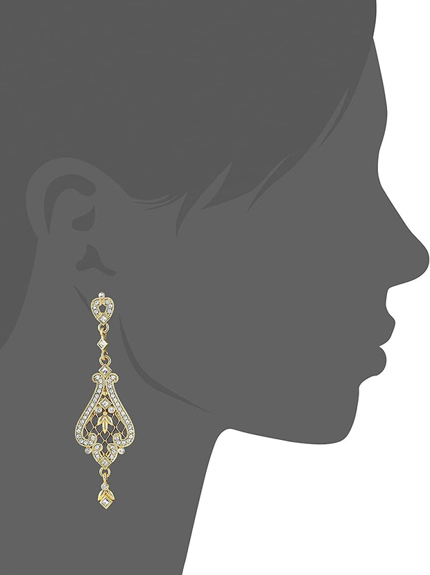 14K Gold Dipped Filigree Earrings Made With Crystal Swarovski Crystals