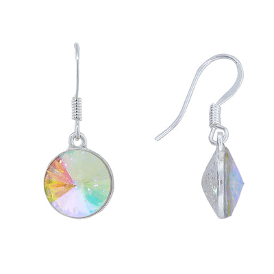 Silver Tone Ab Swarovski Crystal Drop Earrings