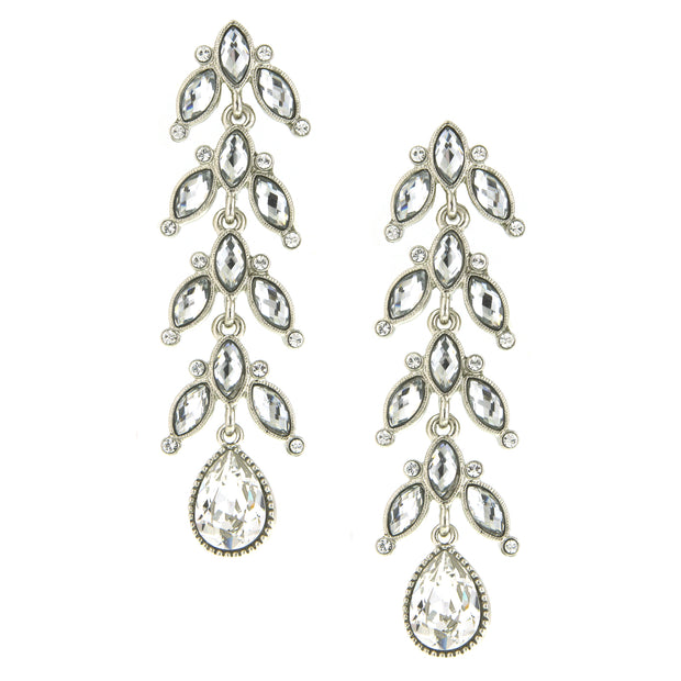 Silver Tone Crystal Vine Linear Teardrop Earrings