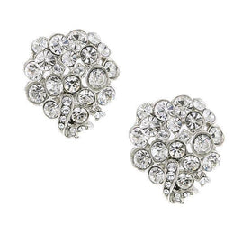 Silver-Tone Crystal with Swarovski Elements Cluster Earrings