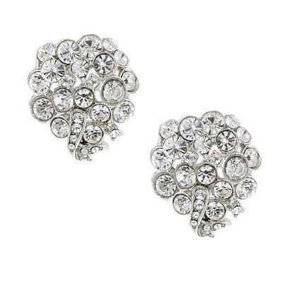 Silver Tone Crystal With Swarovski Elements Cluster Earrings