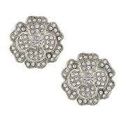 Silver-Tone Flower Button Earrings with Made with Swarovski Crystals
