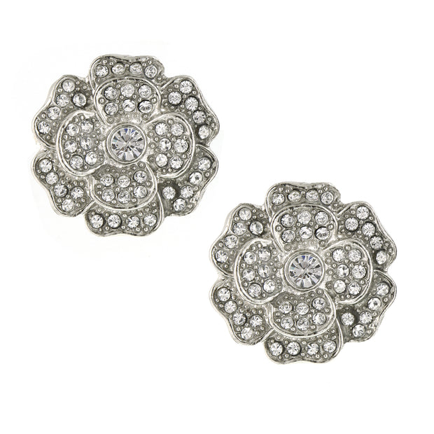 Silver Tone Flower Button Earrings With Made With Swarovski Crystals