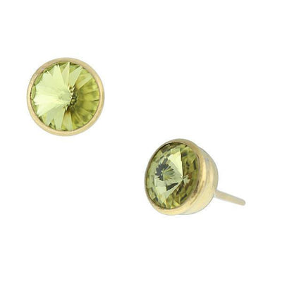 Gold Tone Jonquil Yellow Swarovski Stud Earrings