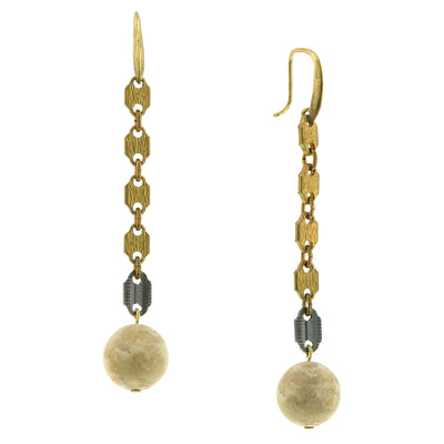Vintage Brass Tone Linear Accented With Gemstone Riverstone Beads Earrings