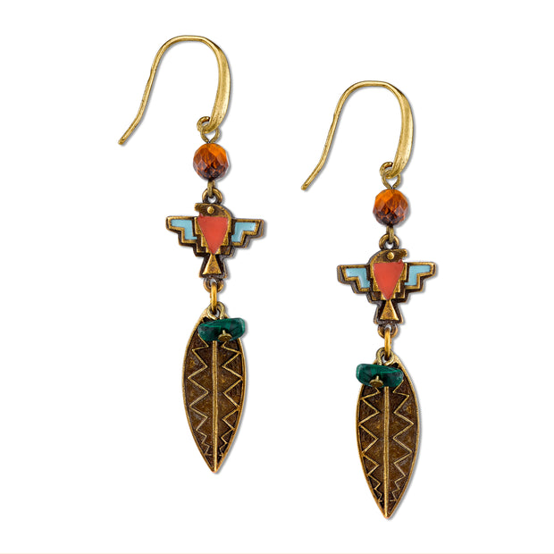 Brass Tone Thunderbird Earrings W/Gemstone Tiger S Eye And Malachite Chips