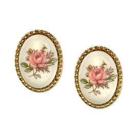 Fashion Jewelry - Gold Tone Ivory Floral Decal Oval Button Earrings