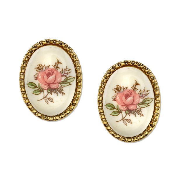Gold Tone Ivory Color With Floral Decal Oval Button Earrings