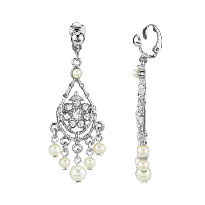 Silver Tone Crystal And Costume Pearl Chandelier Drop Clip On Earrings