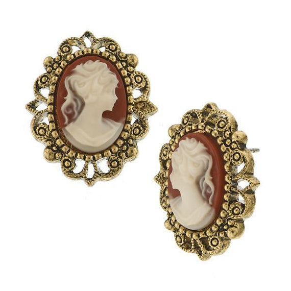 Fashion Jewelry - Brass-Tone Faux Carnelian Cameo Earrings