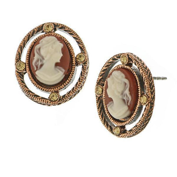 Copper Tone Simulated Dark Carnelian Cameo Button Earrings