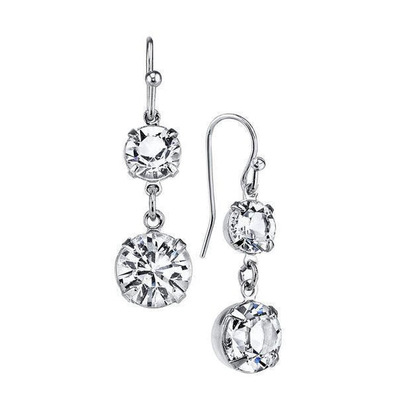 Silver-Tone Genuine Swarovski Crystal Drop Earrings