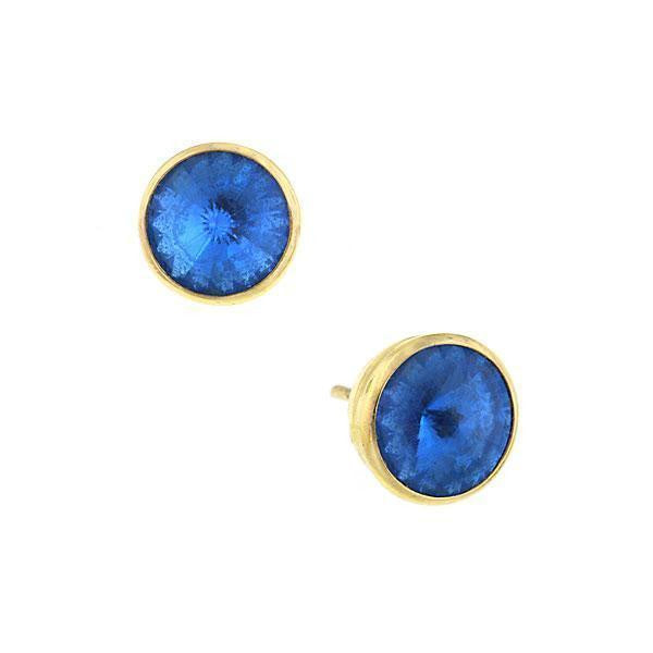 Gold Tone Sapphire Blue Stud Earrings