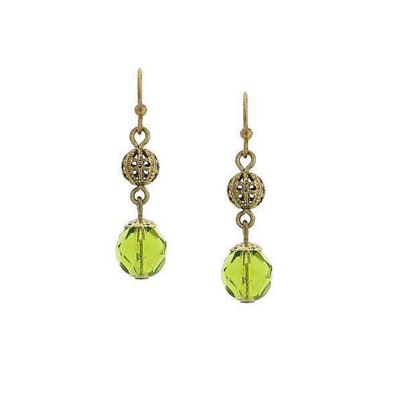 Gold-Tone Olivine Green Beaded Drop Earrings