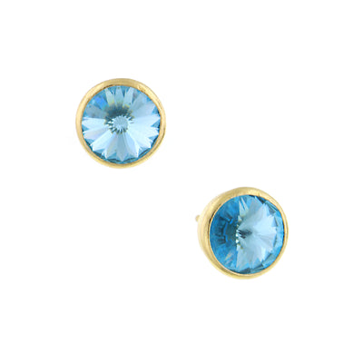 Light Blue 1928 Jewelry Gold-Tone Round Sparkling Stud Earrings