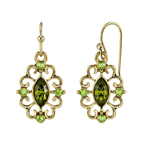 Gold Tone Olivine Green Crystal Drop Earrings
