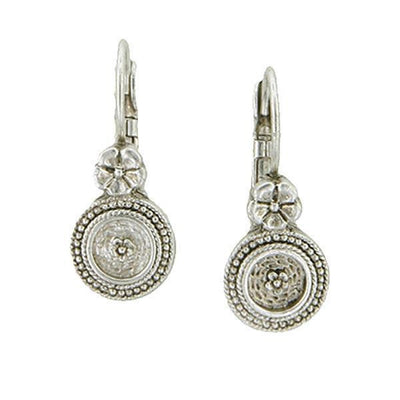 Silver-Tone Round Drop Leverback Earrings