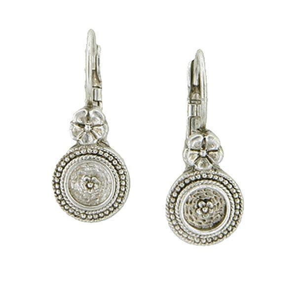 Silver Tone Round Drop Leverback Earrings