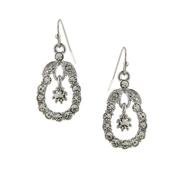 Silver Tone Crystal Caged Drop Earrings