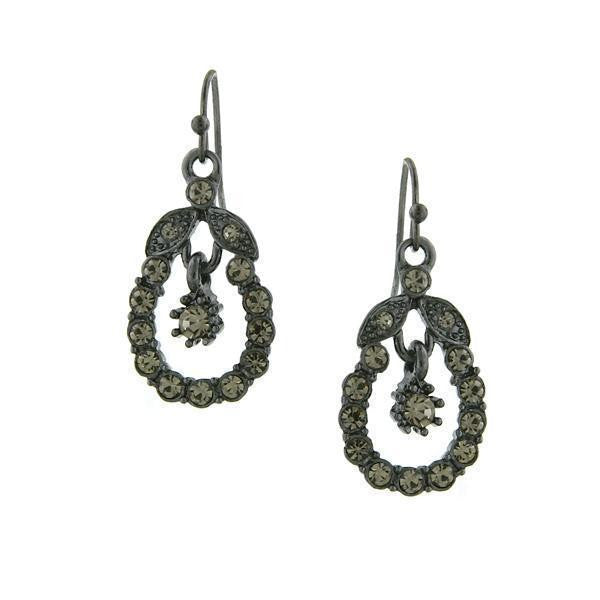 Jet Black Diamond Caged Drop Earrings