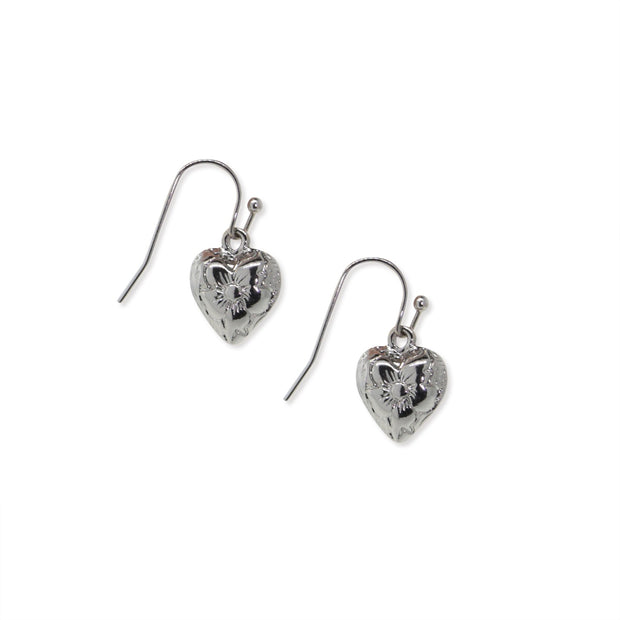 1928 Jewelry Silver-Tone Heart Drop Earrings