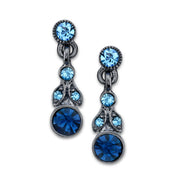 1928 Jewelry Hematite-Tone and Tonal Blue Drop Earrings