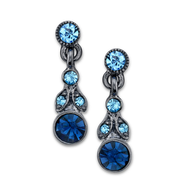 1928 Jewelry Black-Tone Blue Drop Earrings