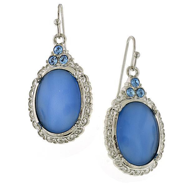 Silver-Tone Lt. Sapphire Oval Drop Earrings