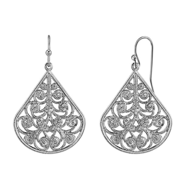 Filigree Vine Teardrop Earrings silver tone