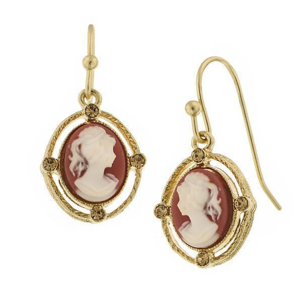Gold Tone Faux Dark Carnelian Cameo Oval Drop Earrings