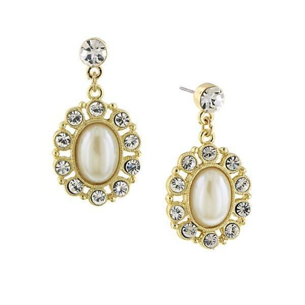 Gold Tone And Costume Pearl Oval Drop Earrings