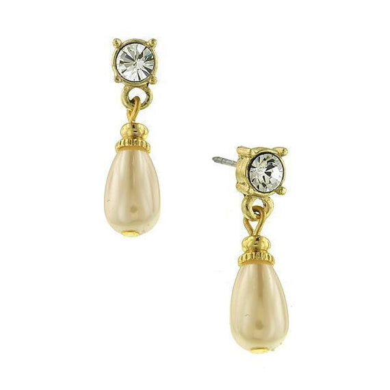 Gold-Tone and Simulated Pearl Teardrop Earrings