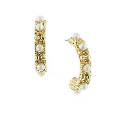 Gold-Tone Costume Pearl Half Hoop Earrings