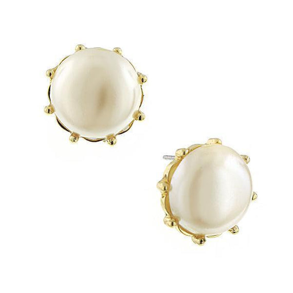 Gold-Tone Simulated Pearl Button Earrings